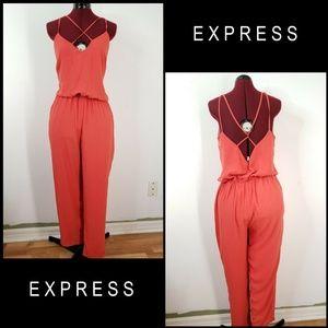 Express Woman Open Back Criss Cross Jumpsuit Sz M